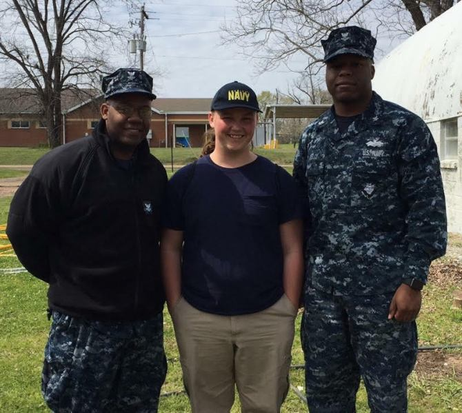Pictured L – R John McCorbin, EN2 Navy Recruiter,  Colton Mattingly, and Daniel Kelly, CM2 Navy Recruiter