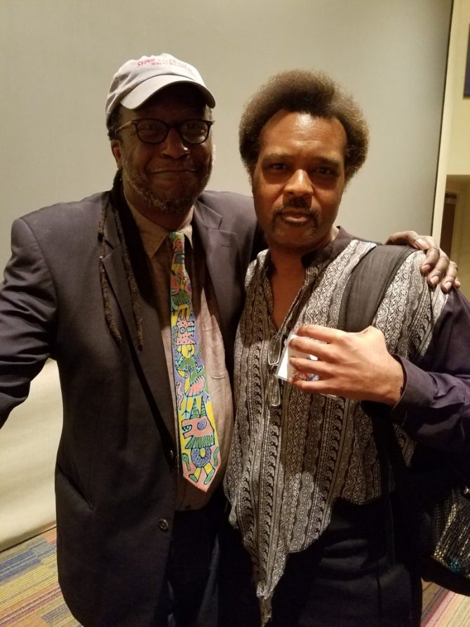 L Cornelius Eady (right), professor of English/Miller Family Endowed Chair in Literature and Writing – University of Missouri-Columbia with JSU professor of English, C. Leigh McInnis.