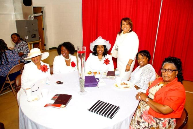 Ladies of College Hill at anniversary dinner in Family Life Center