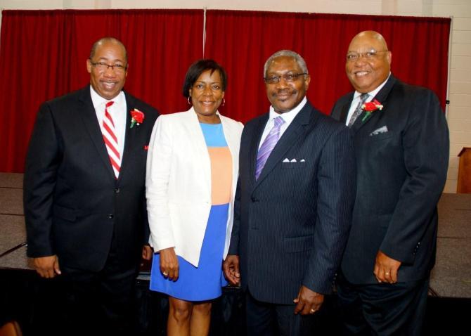 College Hill Pastor Michael T. Williams, Gail and Sen. John Horhn, guest speaker S.V. 'Sonny' Adolph Jr.   PHOTO BY JAY JOHNSON