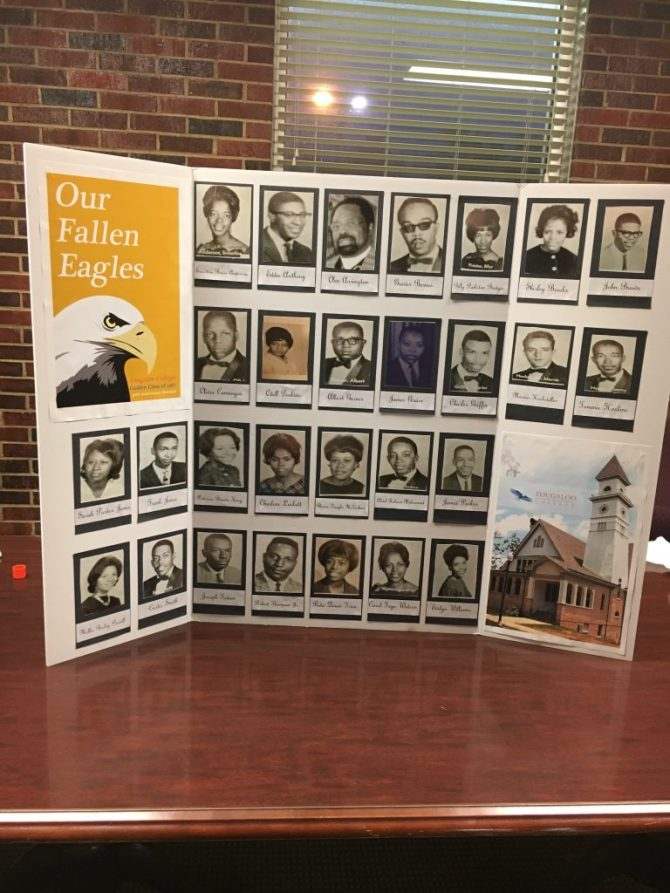 Poster honoring graduates of the class of 1967 that have passed away.