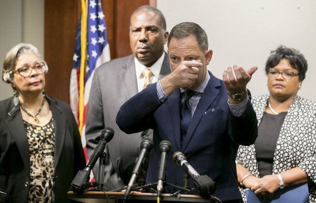 State Rep. Rafael Anchia, D-Dallas speaks at a news conference at the Supreme Court Building in Austin, Texas, on Thursday, May 4, 2017, about the shooting of Jordan Edwards in Balch Springs, Texas. Listening are, left to right, state Rep. Senfronia Thompson, D-Houston, Sen. Royce West, D-Dallas, and state Rep. Toni Rose, D-Dallas. (Jay Janner/Austin American-Statesman via AP)