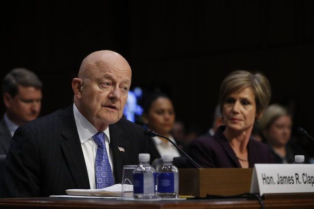 "Former National Intelligence Director James Clapper, accompanied by former acting Attorney General Sally Yates, testifies on Capitol Hill in Washington, Monday, May 8, 2017, before the Senate Judiciary subcommittee on Crime and Terrorism hearing: ""Russian Interference in the 2016 United States Election."" (AP Photo/Pablo Martinez Monsivais)"