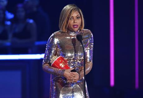 Taraji P. Henson accepts the award for best fight against the system at the MTV Movie and TV Awards at the Shrine Auditorium on Sunday, May 7, 2017, in Los Angeles. (Photo by Chris Pizzello/Invision/AP)