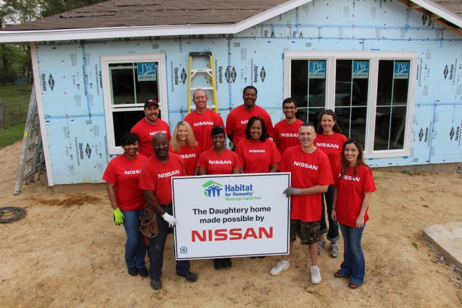 Nissan team who worked on the Daughtery home in Canton, Miss. Photo Courtesy of Nissan