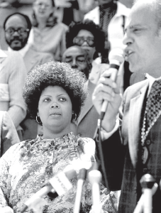 Brown in 1979 with Benjamin L. Hooks, the executive director of the NAACP, on the 25th anniversary of the Brown v. Board of Education ruling.