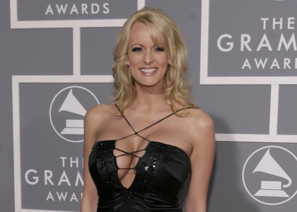 In this Feb. 11, 2007, file photo, adult film actress Stormy Daniels arrives for the 49th Annual Grammy Awards in Los Angeles. (Matt Sayles / AP)