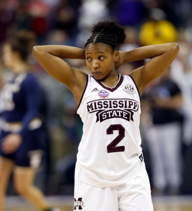 Mississippi State's Morgan William pauses following a 61-58 loss to Notre Dame in the final of the women's NCAA Final Four college basketball tournament, Sunday, April 1, 2018, in Columbus, Ohio. (AP Photo/Ron Schwane)