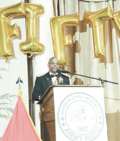 "Maj. Gen. (Ret.) Reuben D. Jones was the keynote speaker for the gala. He said, ""Each year we set aside this season to celebrate and pay tribute for your devotion, patriotism, selfl ess service and sacrifi ce as you prepare for a bright future."""