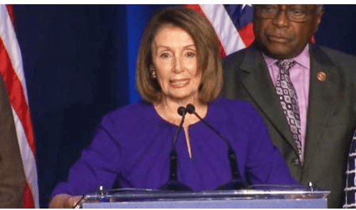 "Democratic leader Nancy Pelosi celebrates the Democratic win in the House of Representatives saying the win will be about ""restoring the Constitution's checks and balances to the Trump Administration."" Assistant Democratic Leader Jim Clyburn looks on."