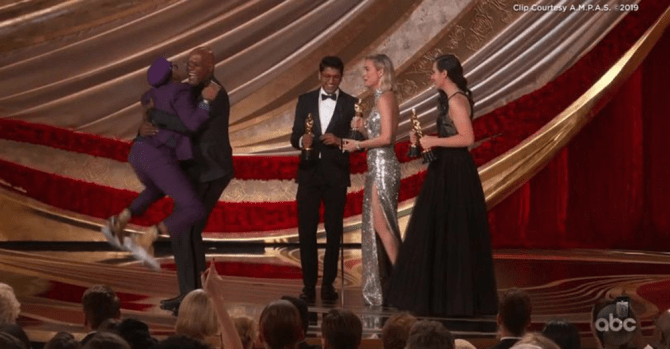 Spike Lee jumps on Samuel L. Jackson when he won Best Director Oscar. Courtesy of A.M.P.A.S. / ABC