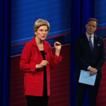 Warren addresses audience at JSU while CNN's Jake Tapper looks on.  PHOTO COURTESY OF CNN