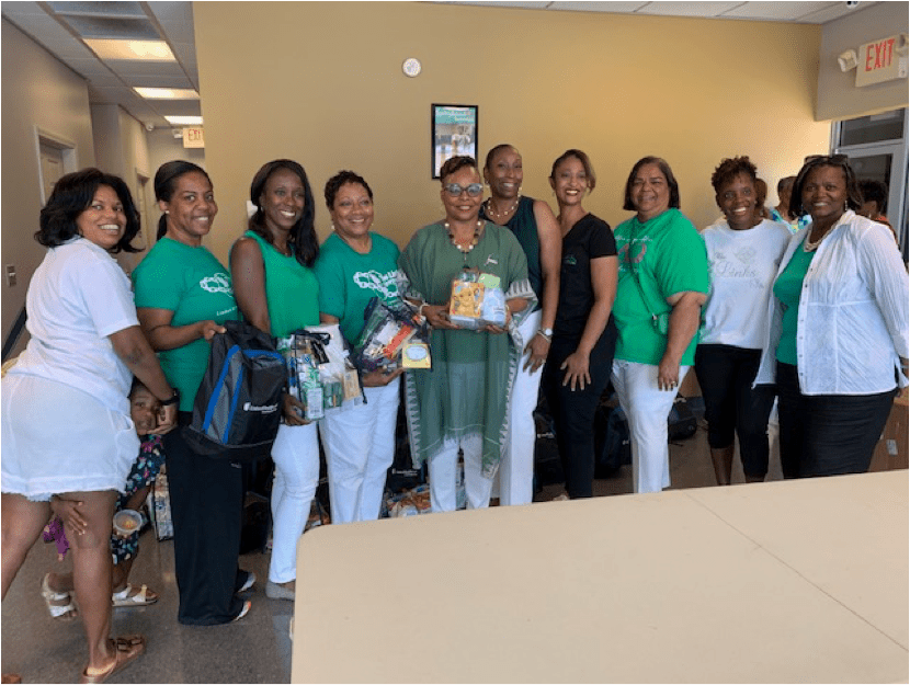 Members of the Jackson (MS) Chapter of the Links, Inc. pictured from left to right – Marquita Wilkins, Kira Johnson, Cathy Northington, Janice Mitchell, Betty A. Mallet (president), Debra Mays-Jackson, Kimberly Campbell, Gloria Johnson, Aisha Nyandoro and Pamela Banks