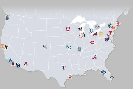map of baseball teams