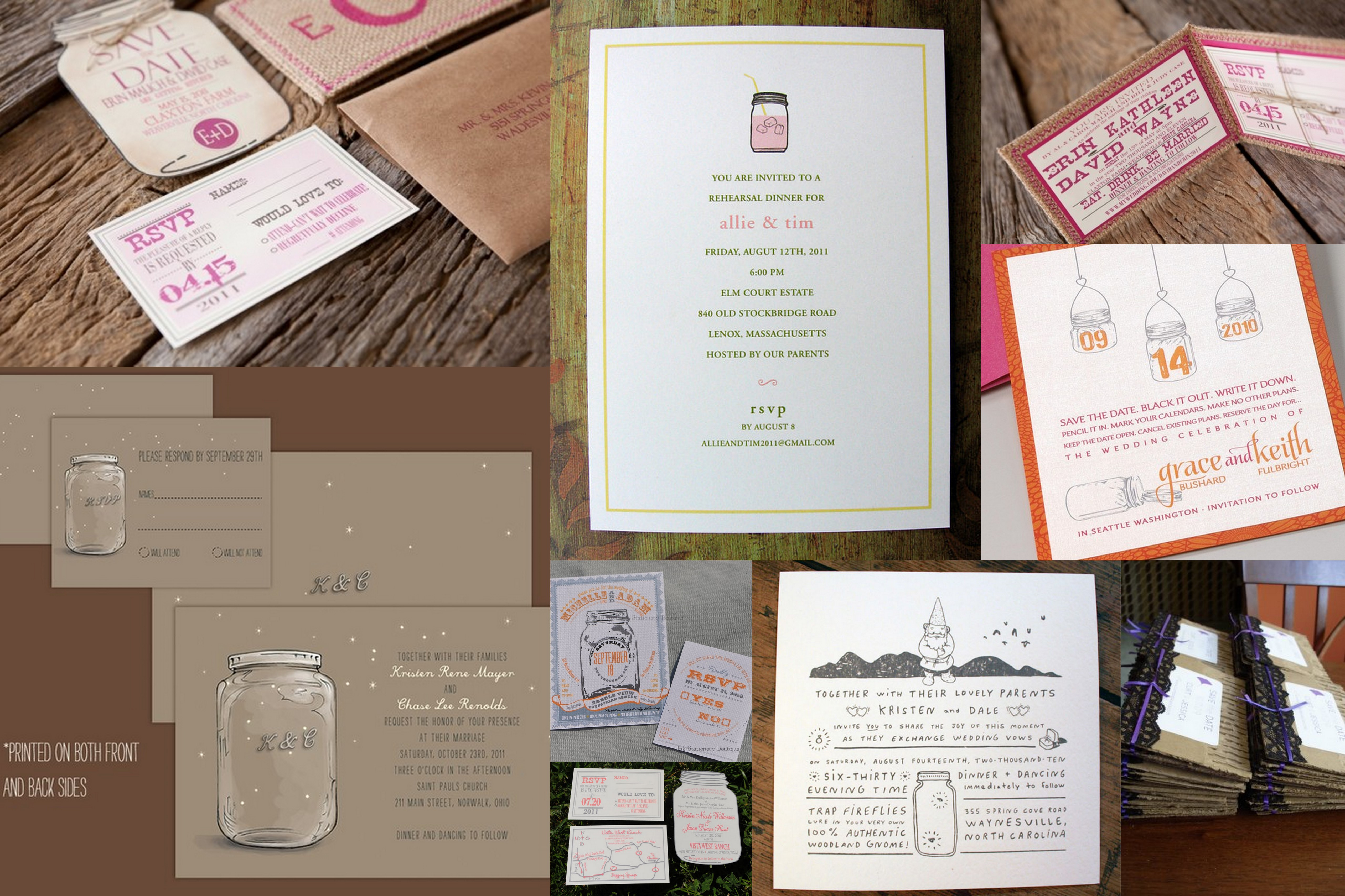 having a mason jar wedding mason jar wedding invitations Save the Date invitations