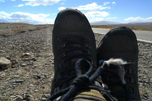 Walking boots on the Patagonian steppe