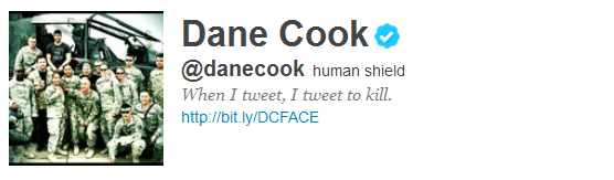 dane cook 12 Funny And Witty Celebrity Twitter Bios