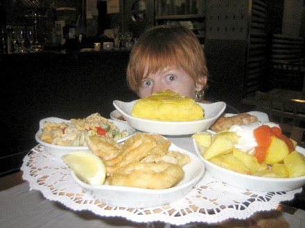 Don't be fooled by the supposed onion rings. They are actually (dramatic pause) CALAMARI!!! Doom.