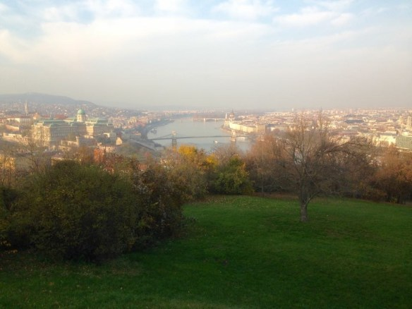 It was a kind of foggy day, but we had a great view of the city from a hill overlooking Budapest.