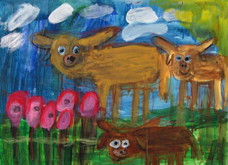 Cassie Smith Cow and Red Flowers acrylic on canvas $400 3'x2.5'