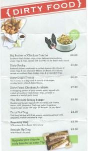 Dirty Food menu at the Varsity
