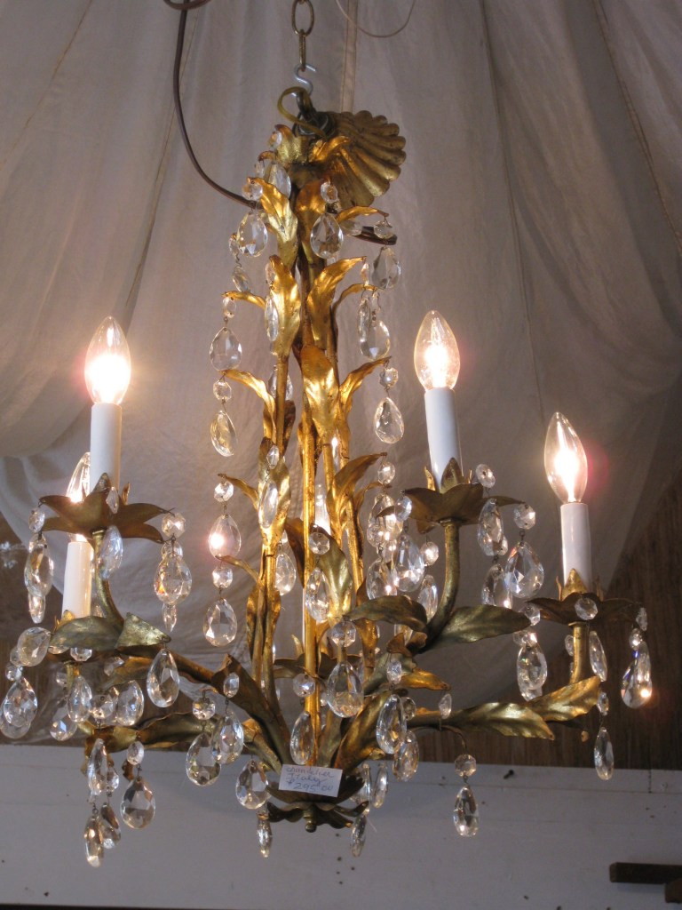One of the chandeliers at Laurie's Trunk
