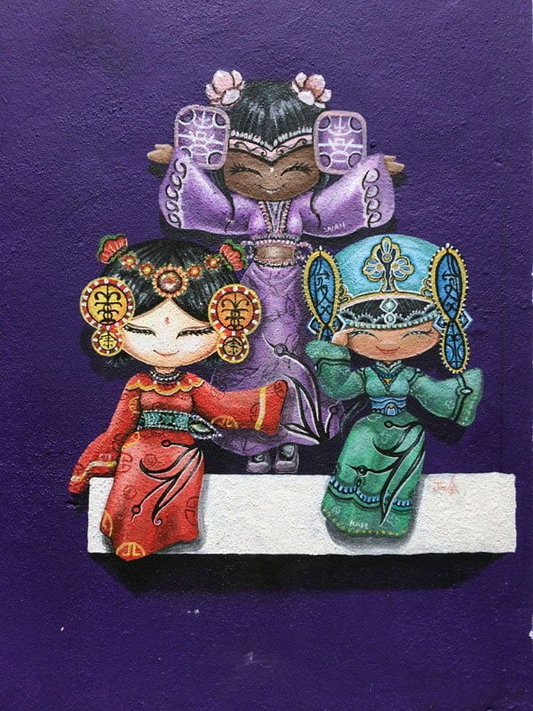 Penang Street Art - Three Girls