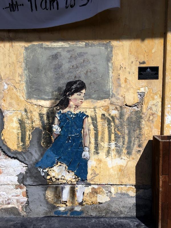 Penang Street Art - Hin Bus Depot Ernest Zacharevic Blue Girl