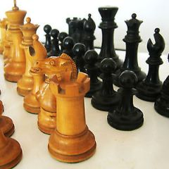 1850's ANTIQUE STAUNTON EBONY AND BOXWOOD WEIGHTED CHESS SET JAQUES KING 3 1/2 ""