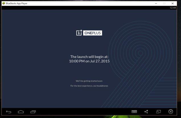 Aplicaicon OnePlus 2 Launch en BlueStack.