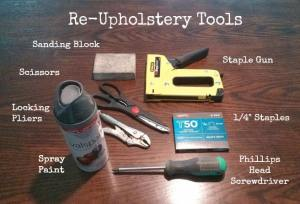 Tools: Sanding Block, Paint, Scissor, Locking Pliers, Staple Gun, Staples, Screwdriver