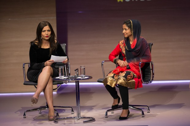 Zarghuna Kargar, Author and Journalist, BBC interviews Sonita Alizadeh, Rapper and Activist on Daughters For Sale at Women In The World London Summit, Cadogan Hall, London. 10/09/2015
