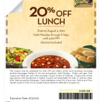 Olive Garden: 20% off Lunch Coupon