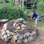 Building a Herb Spiral Adding Soil