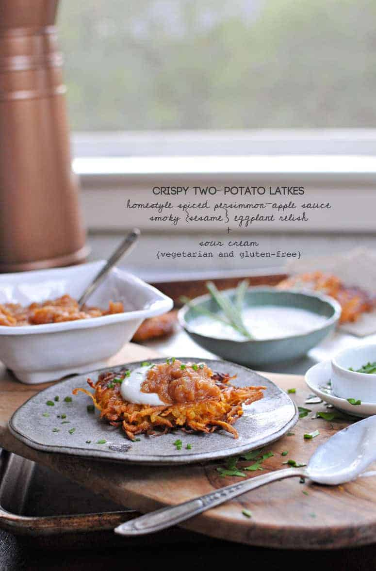 Perfect for entertaining! Crisp potato pancakes with two simple toppings that make great recipes on their own, too. Sweet, spicy, smoky, creamy! Full recipes at www.thepigandquill.com // #holiday #hanukkah #recipe #glutenfree #vegetarian
