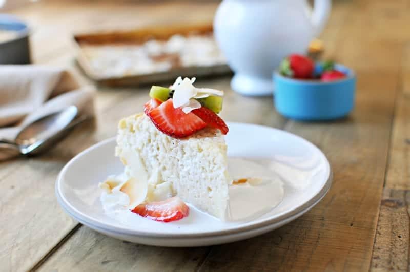Triple Coconut Tres Leches Cake with Honey-Vanilla Summer Fruit recipe (via thepigandquill.com) #dairyfree #glutenfree #dessert