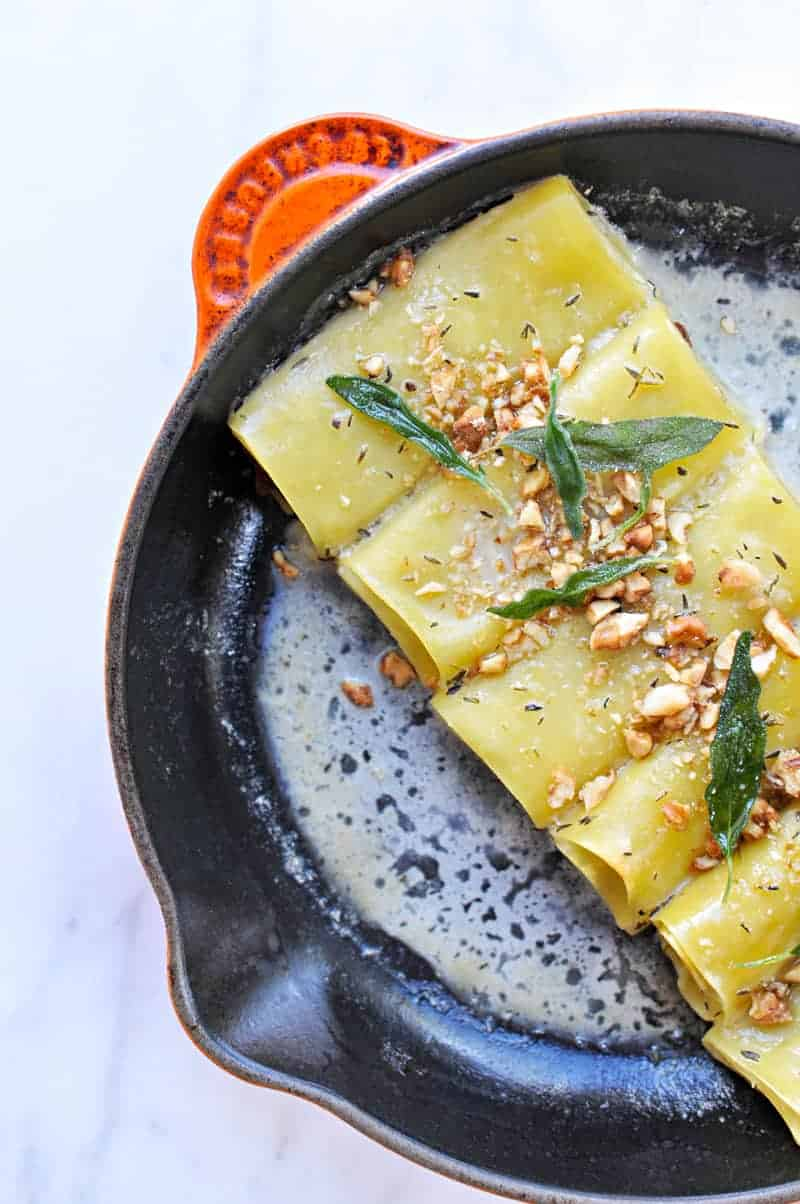 Savory Pumpkin Cannelloni with Candied Walnuts + Crispy Sage Recipe (via thepigandquill.com) #dairyfree