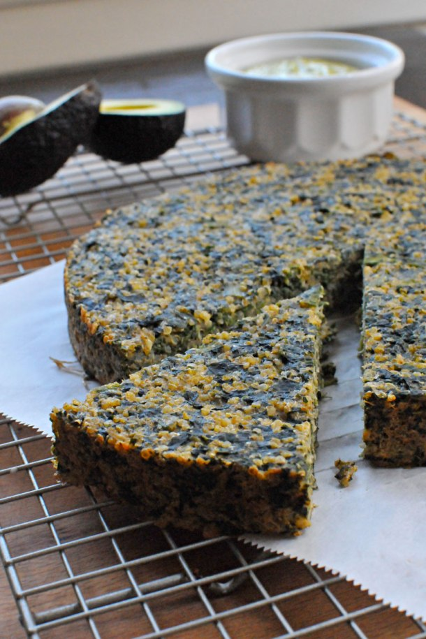 {Gluten-Free} Spinach & Qunioa Cake with Avocado Curry Sauce | the pig & quill
