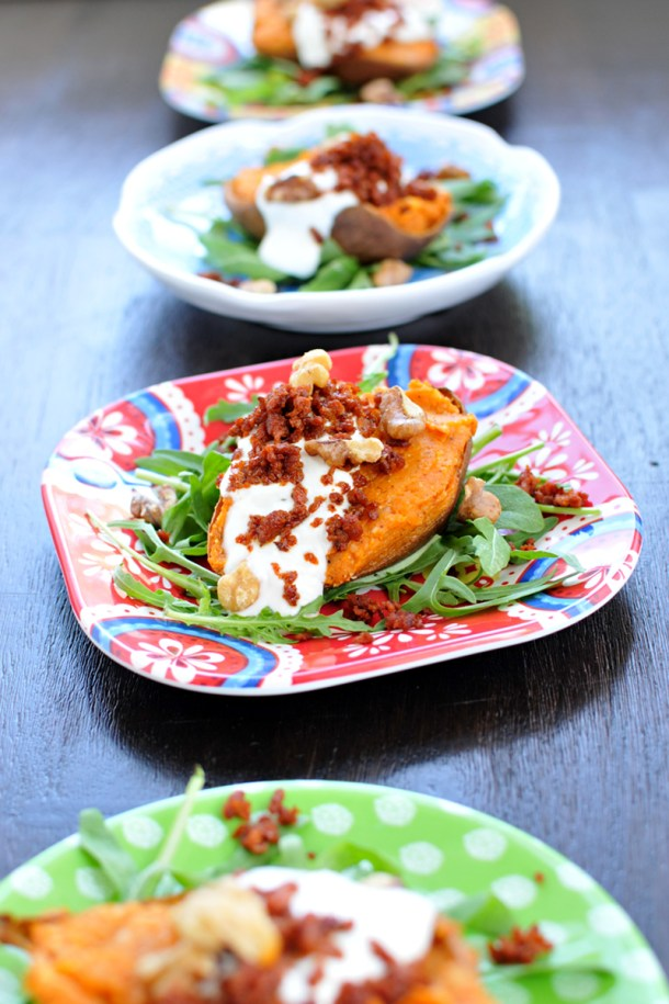 Cheesy Twice-Baked Sweet Potatoes w/ Crispy Chorizo & Maple Cream (gluten-free, veggie variation) // the pig & quill