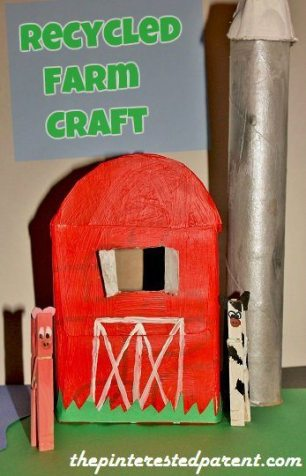 Recycled Farm - Tissue box barn, clothes pin farm animals & toilet paper tube silo.