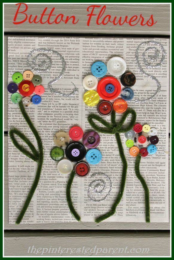 Button flower craft the pinterested parent for Button crafts for adults