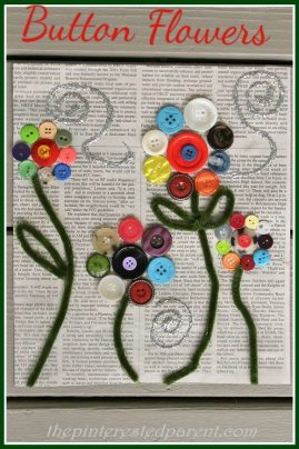 Button Flowers on Newspaper - pretty craft for kids or adults
