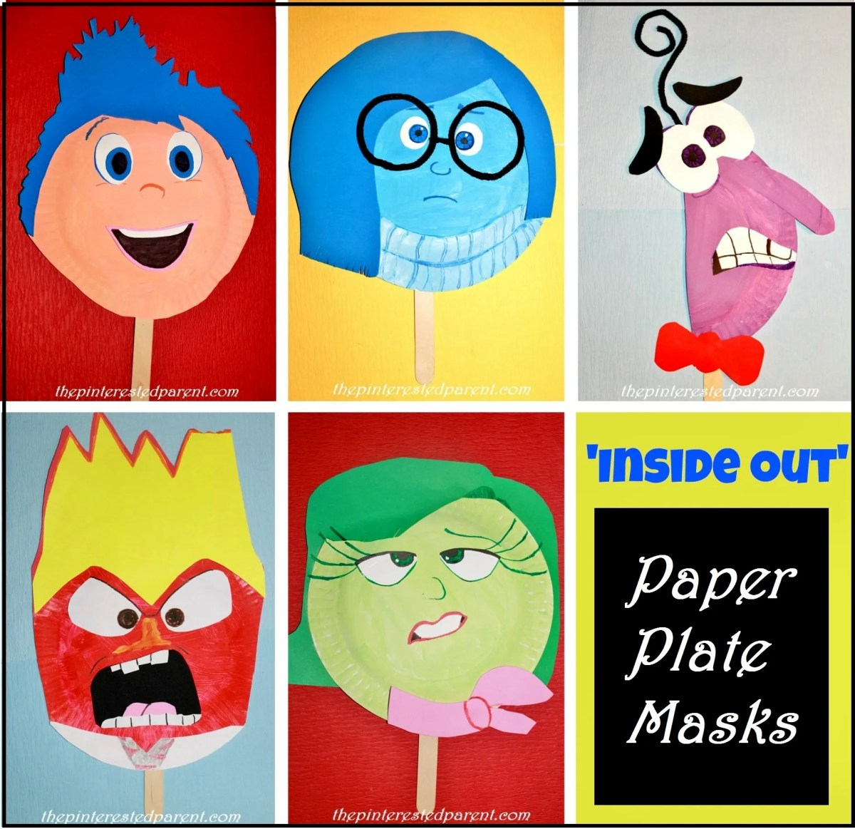 'Inside Out' Paper Plate Masks