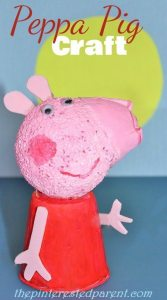 Peppa Pig Craft made out of styrofoam ball & recyclables.