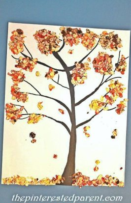 Fall Tree made out of colored oats. A great sensory & arts and craft project for the kids for the fall
