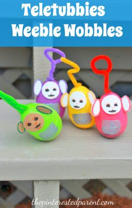 Use old plastci Easter Eggs to make Weeble Wobbles - We made Teletubbies for ours
