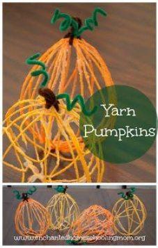 Yarn-Pumpkin-Kids-Craft