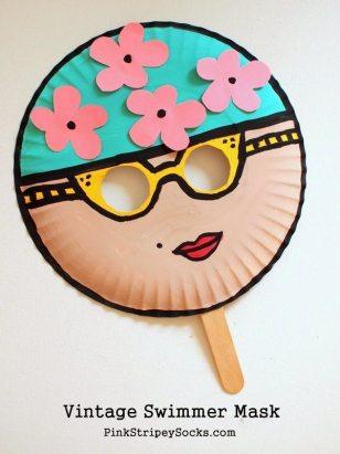 2 Vintage Swimmer Paper Plate Mask Kids Craft