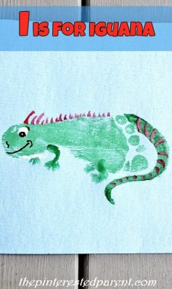 I is for Iguana footprint craft