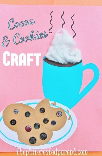 Hot cocoa & chocolate chip cookie craft for winter - kids crafts and activities